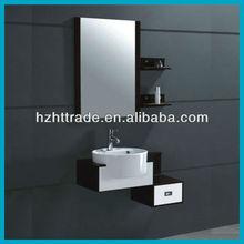 Black small size 800mm PVC side shelf hanging bathroom vanity units
