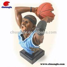 Mini Plastic Bust Basketball Figures, Polyresin Sports Statue