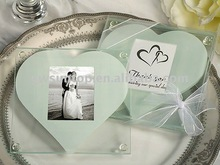 Unique Square Glass Photo Coaster gift With Heart Design Wedding Favors