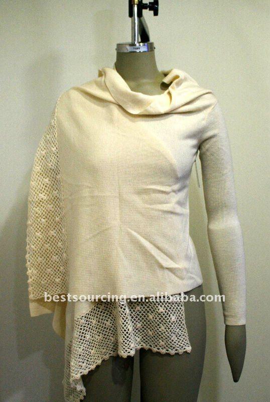 women's winter knitted shawl 100% merino wool 12gg lady wrap cardigan sweater with crochet bottom & sequin BS-860