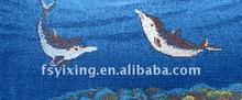 "1""x1"" Blue iridescent tile iridium effect mosaic art pattern for Dolphin Glass Mosaic Swimming Pool Tile Spa Bathroom"