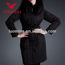 slim shape fashional long winter jackets for women long down coat fur hood ladies black long down coat