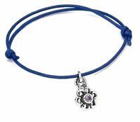 satin cordon flower bracelet with cz stone
