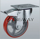 PU casters mold on cast iron, Roller bearing, Swivel caster