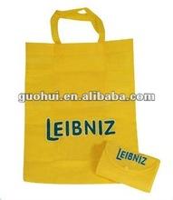 fashion yellow non woven folded shopping bag