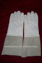 long leather welding gloves with sheep leather white color