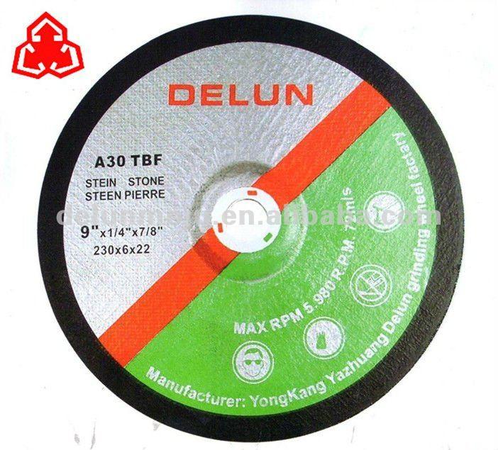 Mpa en12413 deprimido centro de las ruedas de molienda, acero discos de molienda