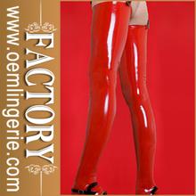 Famous brand women red wet look vinyl stockings