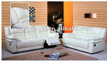 YR2113 White leather recliner sofa set, leather sofa reclining 3 and 2