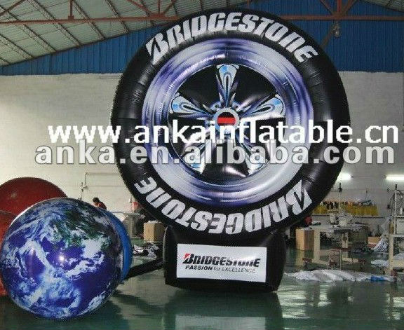advertising inflatable tire model (4m,printing,car,tyre)
