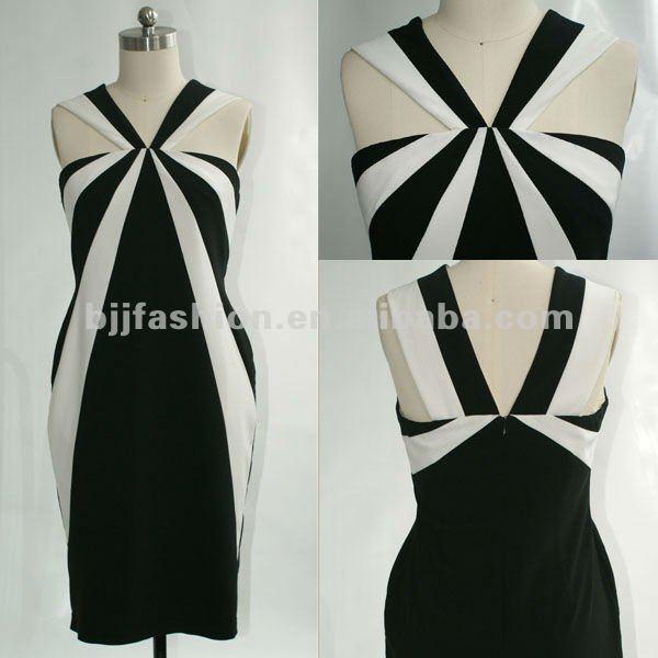 2012 moda negro y blanco cabestro rodilla longitud vestido de noche
