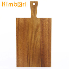 2014 durable rectangle acacia wooden fish vegetable cutting board with weight
