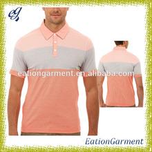 Mens printed emboss stripe polo t - shirt two tone polo shirt for sale
