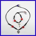 Frisado corda de couro trançado colar charme& pulseira diy fazendo conjunto