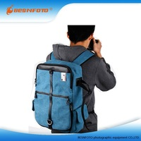 Navy Canvas Men's Backpack laptop Camera Bag waterproof Hiking Backpack