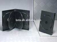 22mm 5 discs Black Plastic DVD Case, DVD Box with 2 trays