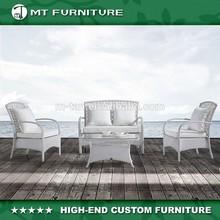 Desgin Unique Garden/Villa Outdoor White Rattan/Wicker Sofa set-4pcs Furniture