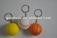 Mass production pu ball key chain / Basketball, golf, football keychain