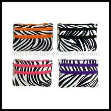 Zebra dual zipper satin cosmetic travel make up bag