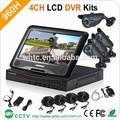 """10 """" 4ch H.264 CCTV en tiempo real de la cámara con CCD 800TVL ir a prueba de agua la cámara sistema de seguridad casero"""