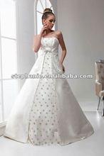 (A6606)Unique Strapless A-line Beaded Korea Satin Designer Discount Wedding Dress 2012
