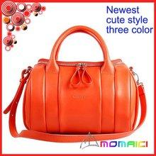 orange color latest designer Genuine leather ladies handbag girls shoulder bag