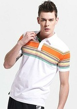 2012 latest casual cheap us 100% cotton pique brand name yarn dyed striped polo t shirts for men