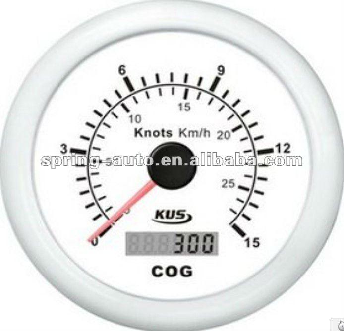 85mm white/black plastic bezel GPS speedometer 15 knots for truck car maine