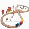El mejor vendedor de niños juguetes educativos de madera/40 piezas de tren de bricolaje con pista de sonido