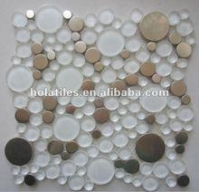 Crystal glass mosaic tile mixed metal bubble circles tiles