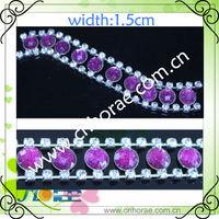 purple beads crystal rhinestone chain trimming for dress