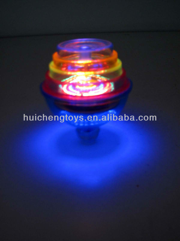 Super power musical flashing spinning top plastic toy