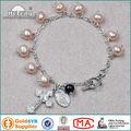 8 mm de color rosa de la perla del rosario pulsera