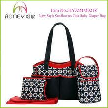New Design Fashion Sweety Sunflowers Black Tote Crib Diaper Bag