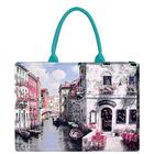 Handbag Manufacturer Watery City Pattern Shopping Handbags for Ladies
