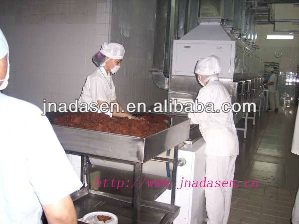Tunnel type microwave beef jerky drying baking machine