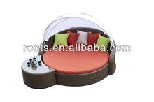Outdoor wicker rattan sun longue patio bed round bed