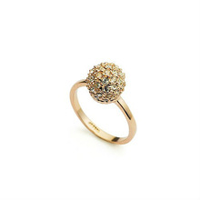 Golden Ball 18K Real Gold Plated Wedding Ring Made With Austrian Crystals