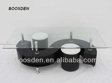 s shape tempered glass coffee table BSD-351126