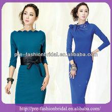 Jewel Bows Knee Length Royal Blue Bridesmaid Dresses