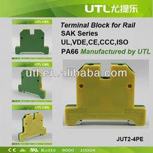 Utility JUT2-4PE 32A Green/Yellow Earthing Terminal Block