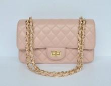 classical lady apricot kidskin leather handbags owmen shoulder bag with silver/golden shoulder strap