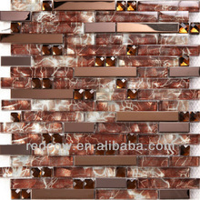 stainless steel mosaic glass tile