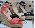 Dama de la moda de la cuña sandalia sandalia de yute xt08-s1026