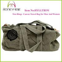 2013 Fashion Duffel Bag Tree Rings Large Heavy Cotton Canvas Duffel Bags