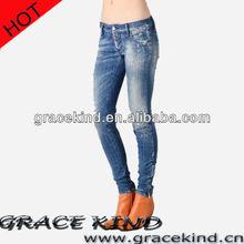 2014 Hot sale New design Fashion Women Jeans,cheap denim jeans factory wholesale(GK042303)