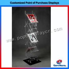fashion design floor standing magazine plexiglass display stand