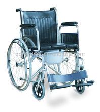 Manual Steel Frame Factory Price Commode Folding Wheelchair JL682U
