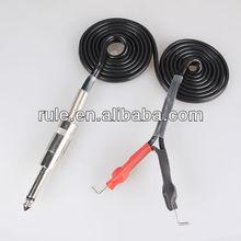 2015 hotselling tattoo machine clip cord 1.8M bright black colour silicon cable tattoo clip cord with RCA plug