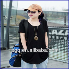 Wholesale high quality 100% cotton plain no brand t-shirt women cheap black blank t-shirt